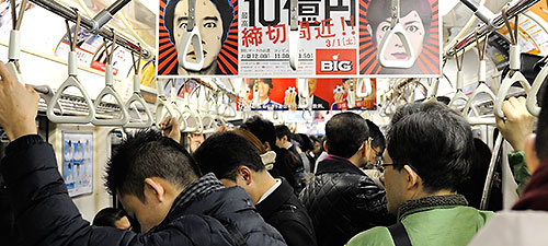 Standees in Tokyo Metro