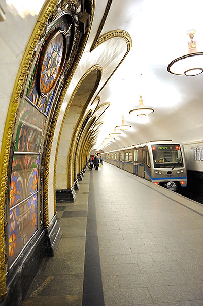 Moscow Metro train at the Novoslobodskaya station