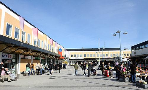 Courtyard near Rinkeby T-bana station in Stockholm, Sweden