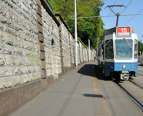 Tram approaching Stadelhofen station in Zurich