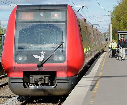 Copenhagen S train and riders