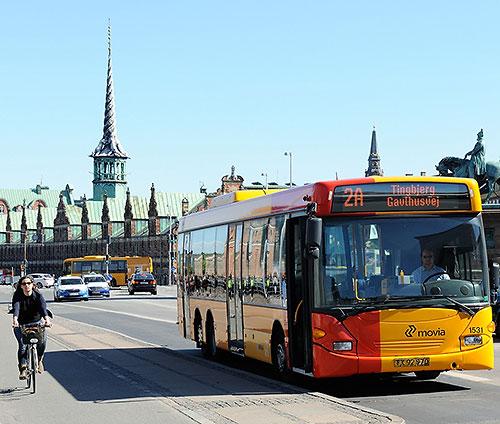 Cyclist and bus in Copenhagen