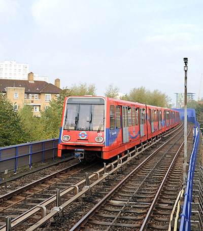 Docklands Light Railway car in London
