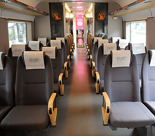 Interior of Oslo Flytoget airport express train