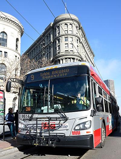 Muni 9 bus on Market Street