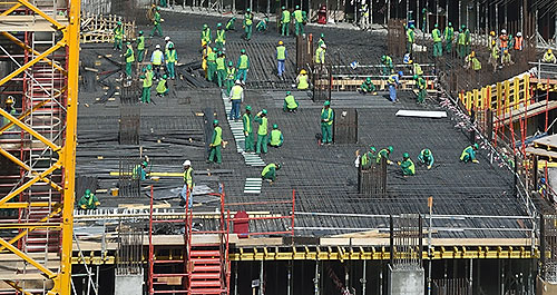 Construction workers near the Dubai Mall