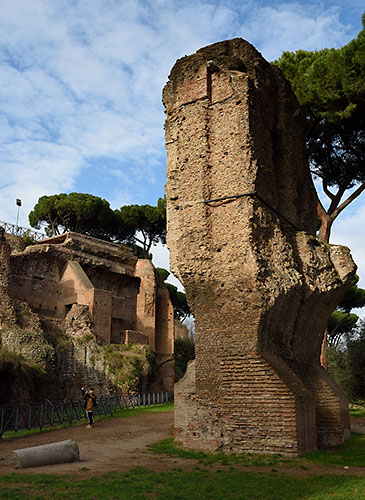 Ruins of Claudia aqueduct on Palatine Hill