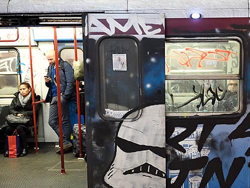 Graffiti on Rome Metro