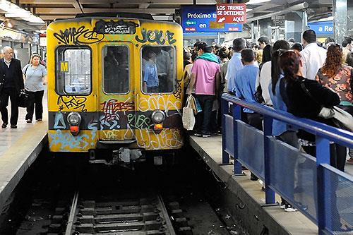Subte C line Metro at Constitucion station in Buenos Aires