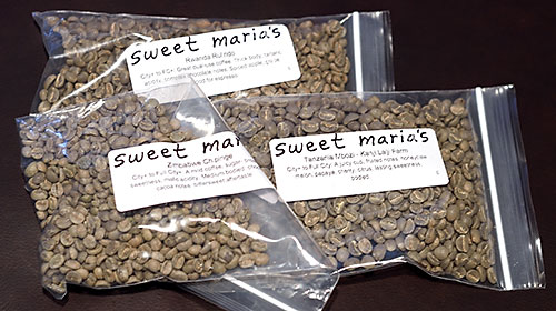 Green coffee beans from Sweet Maria's