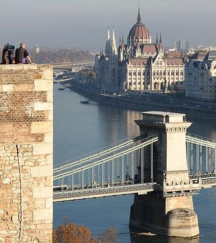 Overlooking Chain Bridge, Danube and Parliament