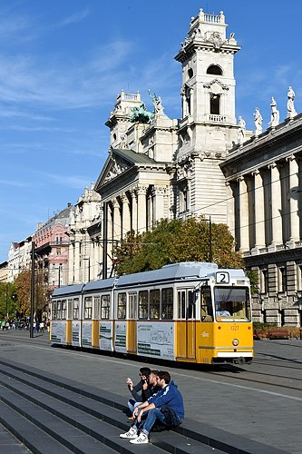 Tram passes Museum of Ethnography in Budapest