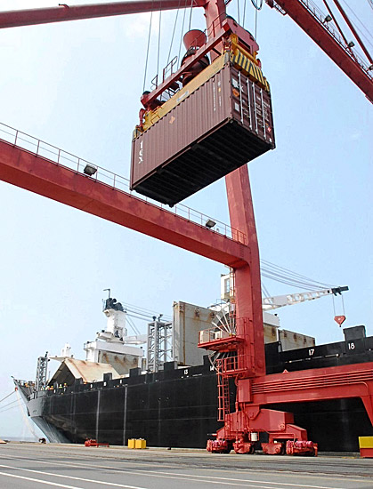 Container at port (CC BY 2.0 photo by Command Webmaster)