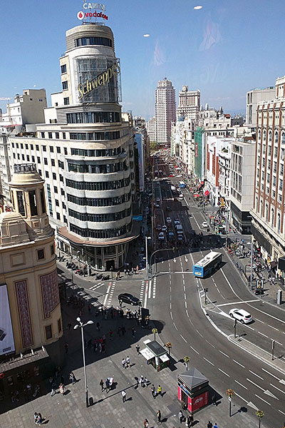Gran Via near Callao metro in Madrid