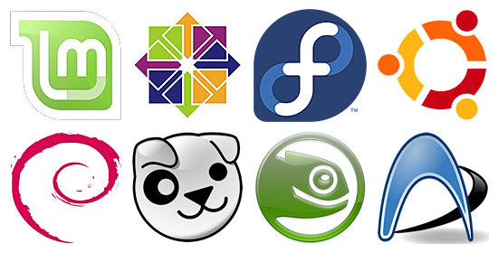 Clockwise, from top left: Linux 'distro' logos for Mint, CentOS, Fedora, Ubuntu, Arch, openSUSE, Puppy, Debian