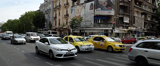 Traffic on Bulevardul Magheru in Bucharest, Romania