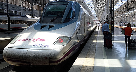 Renfe Ave Class 102 ('Pato') train in Málaga, Spain