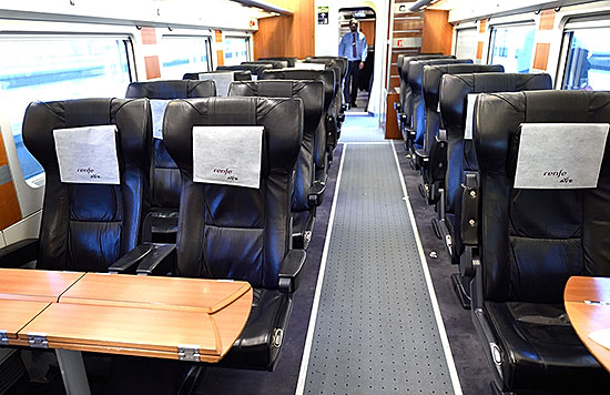 'Preferente' seating on Renfe train in Spain