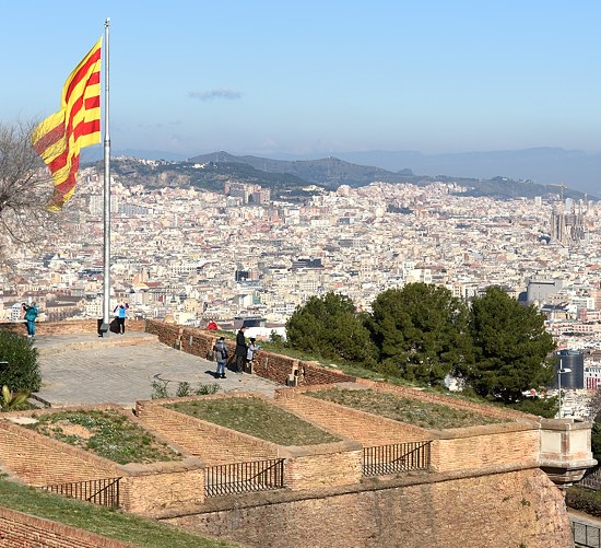 Catalan flag at Montjuïc Castle in Barcelona