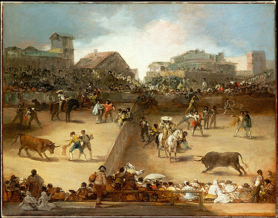 Bullfight in a Divided Ring, attributed to Goya, 1746-1828