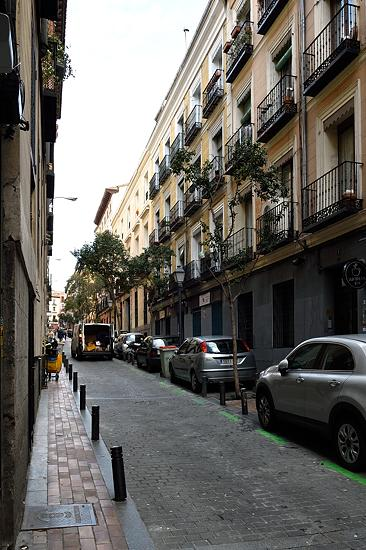 Street in Malasaña district of Madrid, Spain