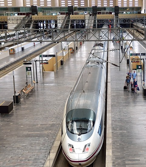 Madrid-Barcelona high-speed Renfe AVE train at station in Zaragoza, Spain