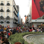 Puerta del Sol facing north to Preciados on Constitution Day