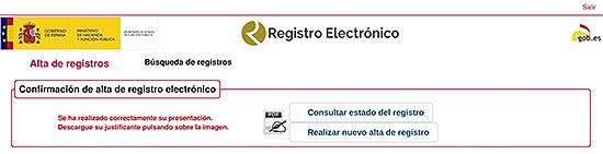 Confirmación de alta de registro electrónico screen