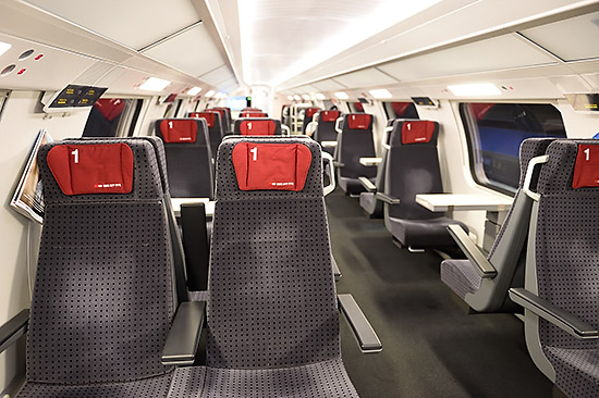 Interior of IR 13 train   Copr. © 2019 by Tim Adams, Creative Commons CC BY 2.0