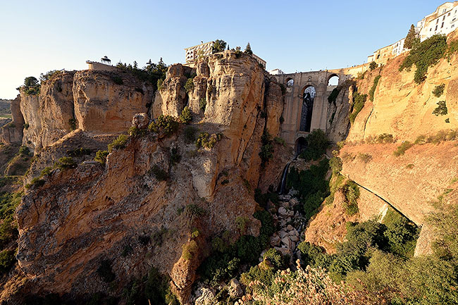 Puente Nuevo seen from gorge in Ronda, Spain