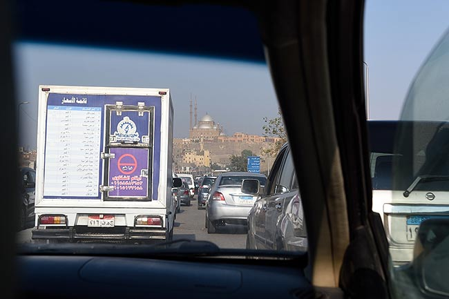 Cairo traffic near mosque | Copr. 2019 by Tim Adams CC by 2.0