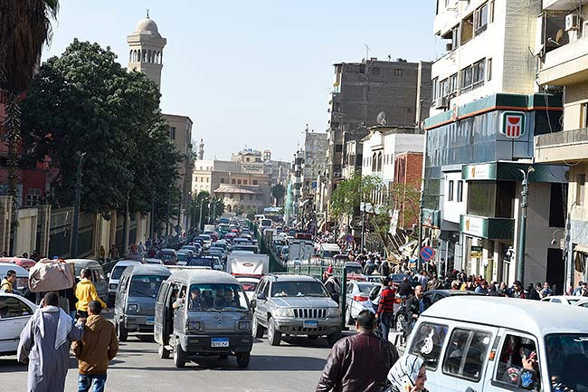 Cairo traffic near Al-Azhar park | Copr. 2019 by Tim Adams All Rights Reserved