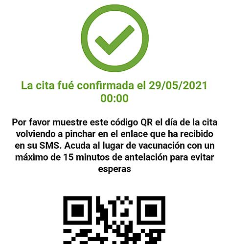 Vaccine appointment confirmation from sanidadmadrid.org