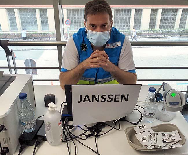 Janssen Covid-19 vaccine station at Wizink center